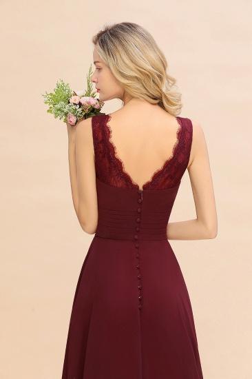 BMbridal Elegant Lace V-Neck Burgundy Chiffon Bridesmaid Dresses with Ruffle_9