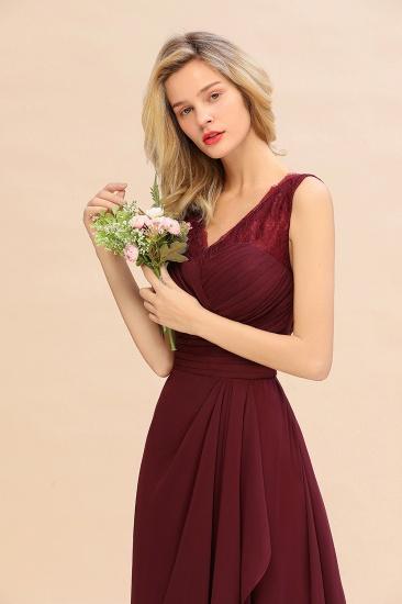 BMbridal Elegant Lace V-Neck Burgundy Chiffon Bridesmaid Dresses with Ruffle_8