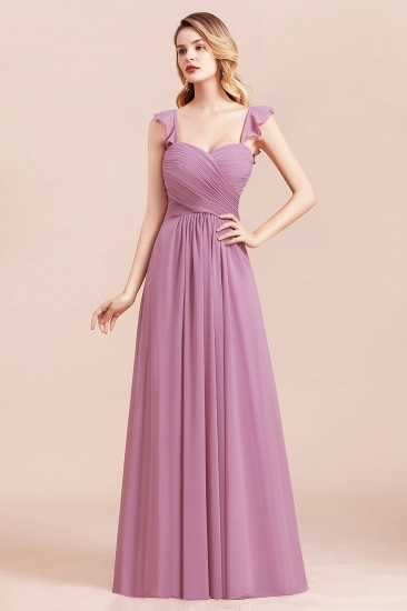 BMbridal Glamorous Sweetheart Ruffle Wisteria Chiffon Bridesmaid Dresses Affordable_8