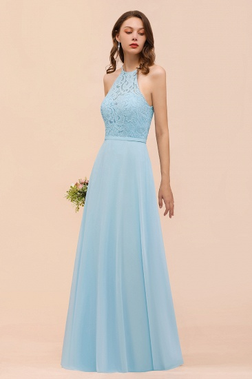 Chic Halter Sleeveless Affordable Sky Blue Bridesmaid Dress with Lace_5