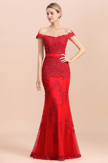 Elegant Mermaid Off the Shoulder Red Lace Appliques Bridesmaid dresses_5
