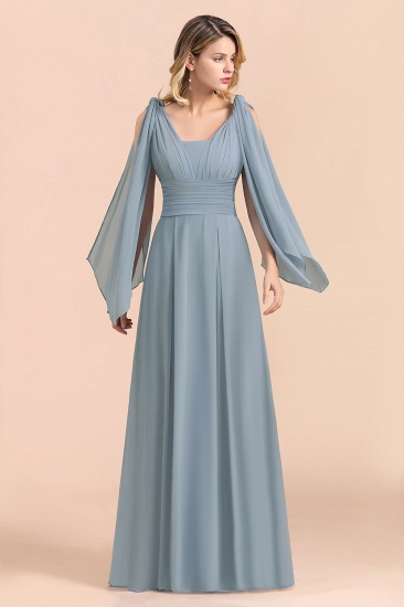 Affordable Dusty Blue Ruffle Convertible Bridemsiad Dress_4