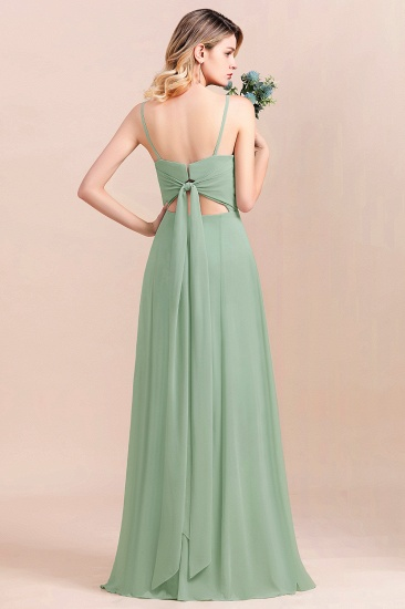 BMbridal Dusty Sage Spaghetti Straps Sweetheart Affordable Bridesmaid Dress_3