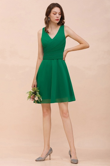 Affordable V-Neck Sleeveless Ruffle Short Bridesmaid Dress
