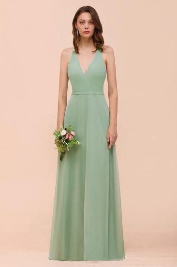 Glamorous Dusty Sage V-Neck Straps Affordable Bridesmaid Dress_1