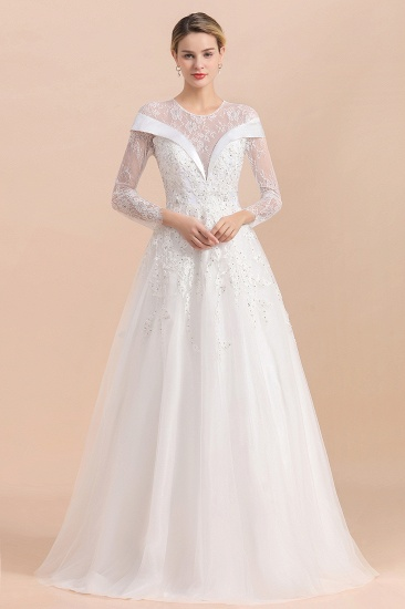 Gorgeous Long Sleeve Lace Wedding Dress Online Appliques Bridal Gowns With Beadings_1