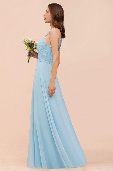 Chic Halter Sleeveless Affordable Sky Blue Bridesmaid Dress with Lace_9