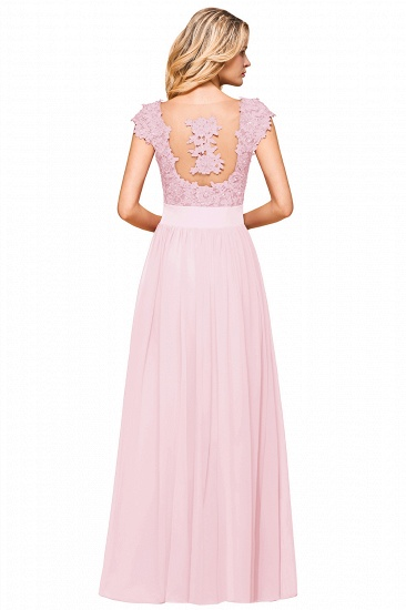 BMbridal Elegant Long Chiffon Prom Dress With Lace Appliques On Sale_22