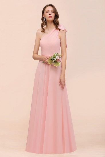 Chic One Shoulder Sleeveless Pink Chiffon Bridesmaid Dress with Bow_5