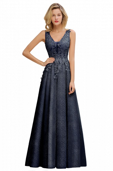 Dusty Pink V-Neck Long Prom Dress With Lace Appliques Online_3