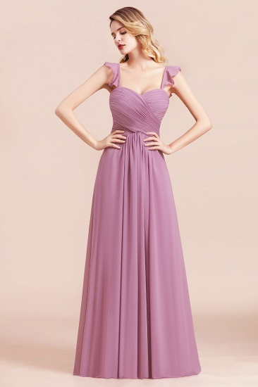 BMbridal Glamorous Sweetheart Ruffle Wisteria Chiffon Bridesmaid Dresses Affordable_4