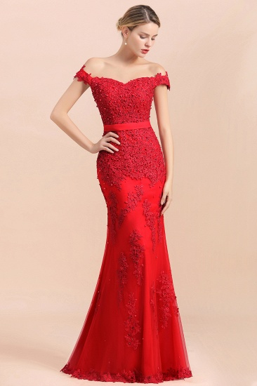 Elegant Mermaid Off the Shoulder Red Lace Appliques Bridesmaid dresses_4