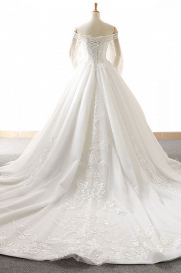 BMbridal Affordable Longsleeves Appliques Tulle Wedding Dresses A-line Lace White Bridal Gowns On Sale_3