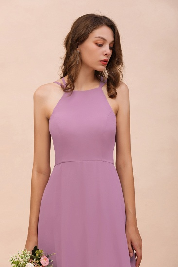 Gorgeous Halter Wisteria Chiffon Bridesmaid Dresses with Draped Back_5