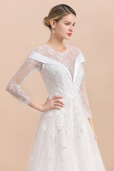 Gorgeous Long Sleeve Lace Wedding Dress Online Appliques Bridal Gowns With Beadings_7