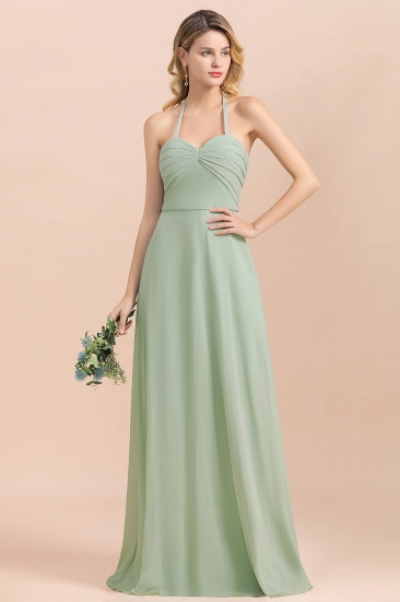 Affordable Halter Sweetheart Chiffon Dusty Sage Bridesmaid Dresses_4