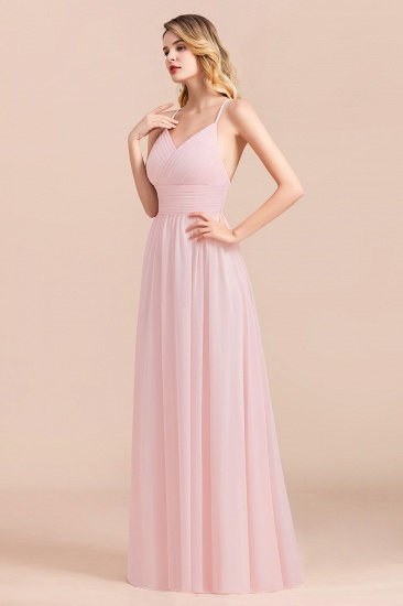 Gorgeous Spaghetti Straps Ruffle Pink Chiffon Bridesmaid Dress Cheap_4