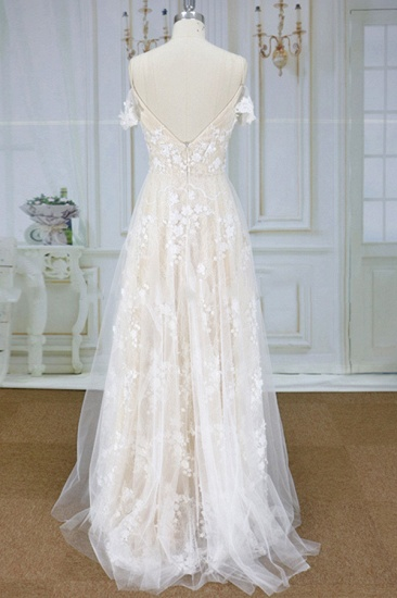 Stylish Spaghetti Straps Off-the-shoulder Appliques Wedding Dresses A-line Tulle Lace Bridal Gowns On Sale_3