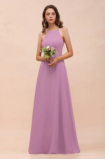 Gorgeous Halter Wisteria Chiffon Bridesmaid Dresses with Draped Back_8