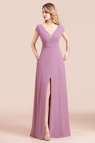 Chic V-Neck Chiffon Wisteria Bridesmaid Dresses with Short Sleeves_4