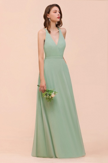 Glamorous Dusty Sage V-Neck Straps Affordable Bridesmaid Dress_6