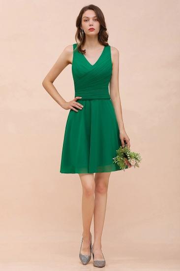 Affordable V-Neck Sleeveless Ruffle Short Bridesmaid Dress_5