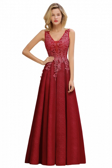 Dusty Pink V-Neck Long Prom Dress With Lace Appliques Online_2