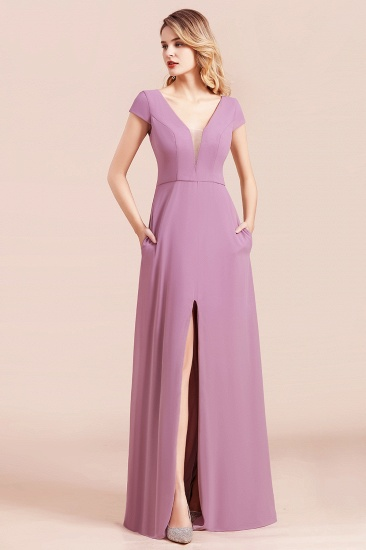 Chic V-Neck Chiffon Wisteria Bridesmaid Dresses with Short Sleeves_8