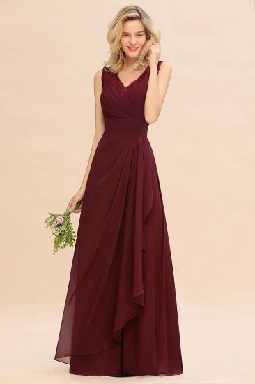 BMbridal Elegant Lace V-Neck Burgundy Chiffon Bridesmaid Dresses with Ruffle_5