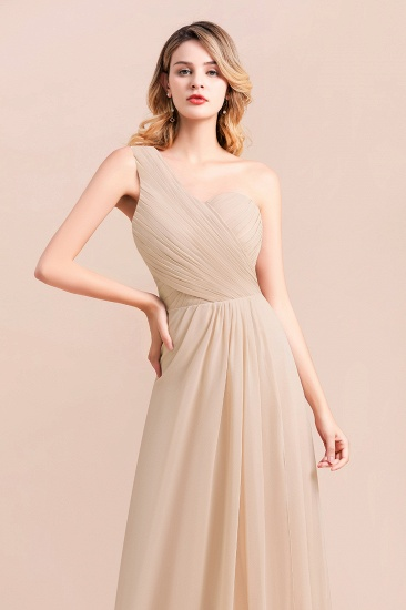 Chic One Shoulder Ruffle Champagne Chiffon Bridesmaid Dress_8