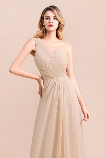BMbridal Chic One Shoulder Ruffle Champagne Chiffon Bridesmaid Dress_8