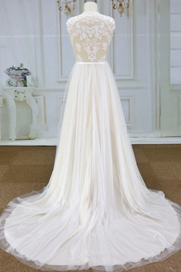 Chic V-neck Straps Sleeveless Wedding Dresses A-line Tulle Ruffles Bridal Champagne Gowns On Sale_3
