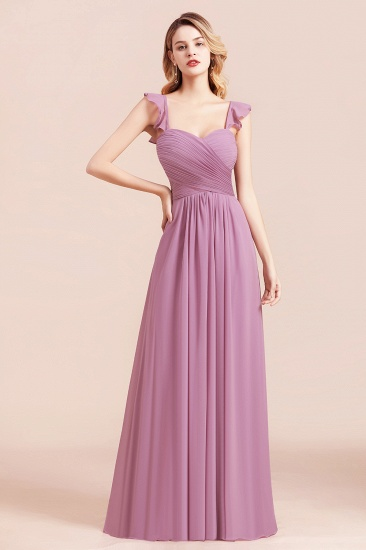BMbridal Glamorous Sweetheart Ruffle Wisteria Chiffon Bridesmaid Dresses Affordable_5