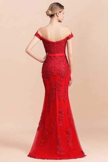 Elegant Mermaid Off the Shoulder Red Lace Appliques Bridesmaid dresses_3