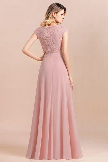 Elegant A-Line Sleeveless Dusty Rose Lace Bridesmaid Dress Online_3