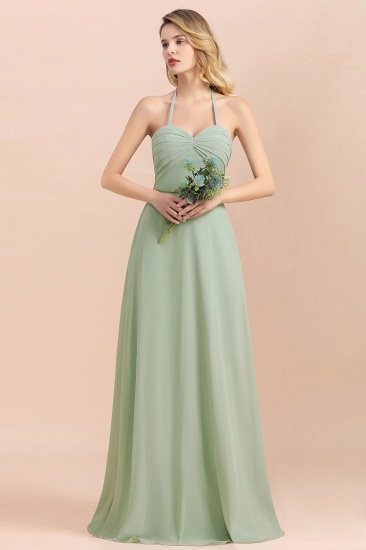 Affordable Halter Sweetheart Chiffon Dusty Sage Bridesmaid Dresses_1