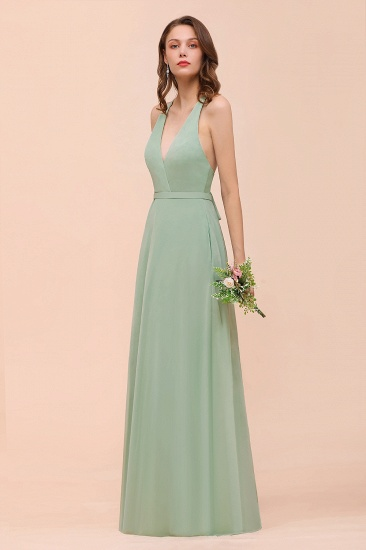 Glamorous Dusty Sage V-Neck Straps Affordable Bridesmaid Dress_9