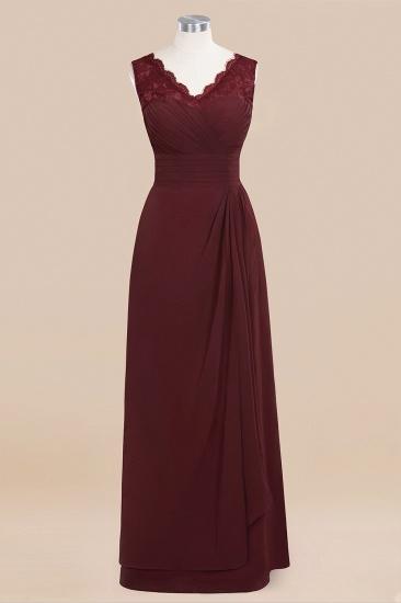 BMbridal Elegant Lace V-Neck Burgundy Chiffon Bridesmaid Dresses with Ruffle_10