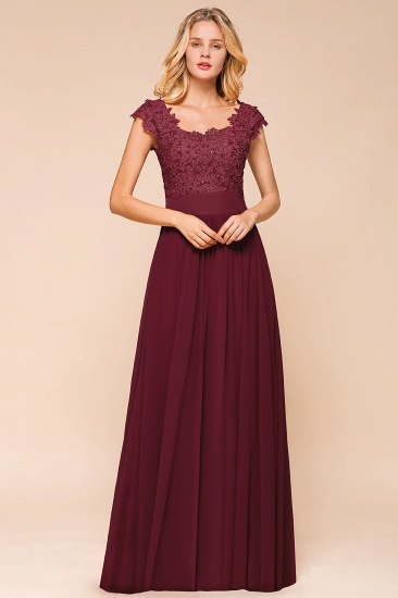 BMbridal Elegant Long Chiffon Prom Dress With Lace Appliques On Sale_3