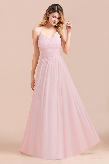 Gorgeous Spaghetti Straps Ruffle Pink Chiffon Bridesmaid Dress Cheap_5