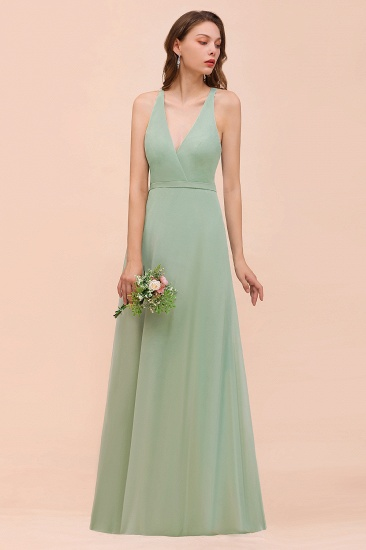 Glamorous Dusty Sage V-Neck Straps Affordable Bridesmaid Dress_5