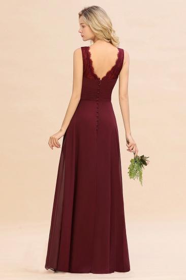 BMbridal Elegant Lace V-Neck Burgundy Chiffon Bridesmaid Dresses with Ruffle_3