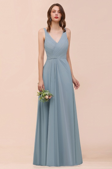 Dusty Blue Chiffon V-Neck Ruffle Bridesmaid Dress