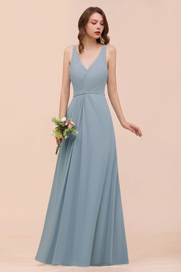 Elegant V-Neck Ruffle Dusty Blue Chiffon Bridesmaid Dresses Online_8