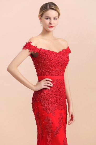 Elegant Mermaid Off the Shoulder Red Lace Appliques Bridesmaid dresses_8
