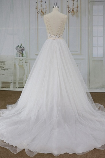 Chic Spaghetti Straps V-neck A-line Wedding Dresses White Tulle Bridal Gowns On Sale_3