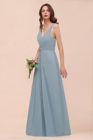 Elegant V-Neck Ruffle Dusty Blue Chiffon Bridesmaid Dresses Online_6