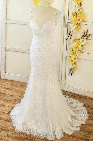 BMbridal Elegant Straps Sleeveless Mermaid Wedding Dresses Appliques Lace White Bridal Gowns On Sale_1