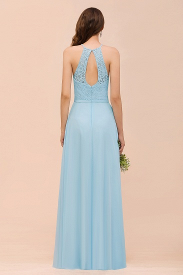 Chic Halter Sleeveless Affordable Sky Blue Bridesmaid Dress with Lace_3
