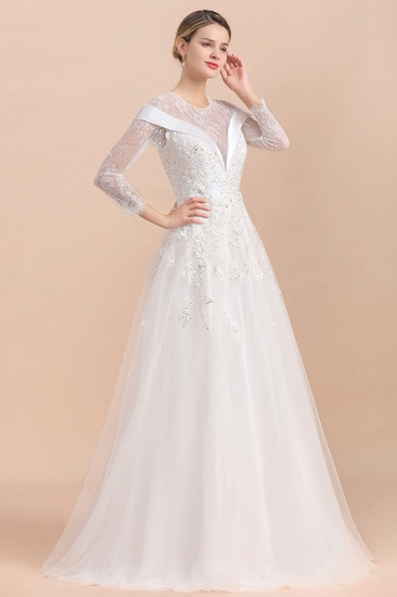 Gorgeous Long Sleeve Lace Wedding Dress Online Appliques Bridal Gowns With Beadings_8